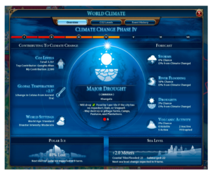 Figure 4. The world climate screen in Civilization VI: Gathering Storm (Screenshot).